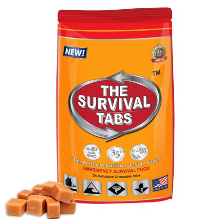 Survival Tabs 2 Day 24 Tabs Emergency Food Survival MREs Meal Replacement for Disaster Preparedness Gluten Free and Non-GMO 25 Years Shelf Life Long Term - Butterscotch Flavor