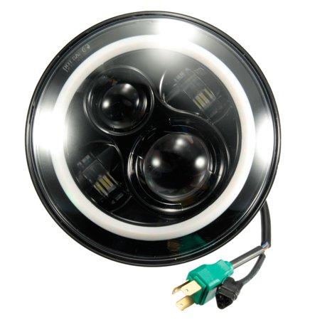 7 Inch Round Hi-Lo Beam Headlights Halo Angle Eyes For Jeep 97-15 For Wrangler JK/TJ/LJ - image 6 de 8