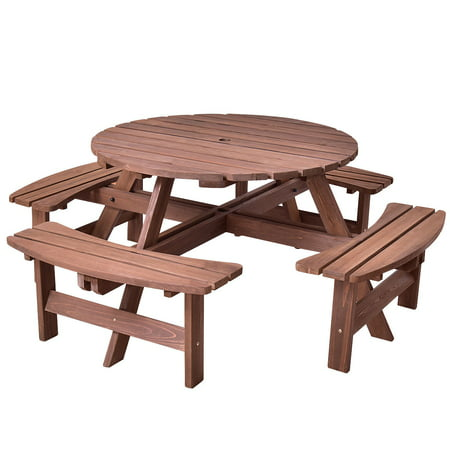 Patio 8 Seat Wood Picnic Table Beer Dining Seat Bench Set