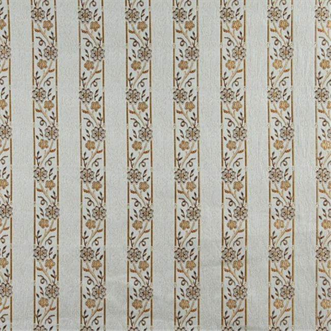 Designer Fabrics K0013A 54 in. Wide Light Blue, Gold, Brown And Ivory Embroidered, Striped, Floral Brocade, Upholstery And Window Treatments Fabric