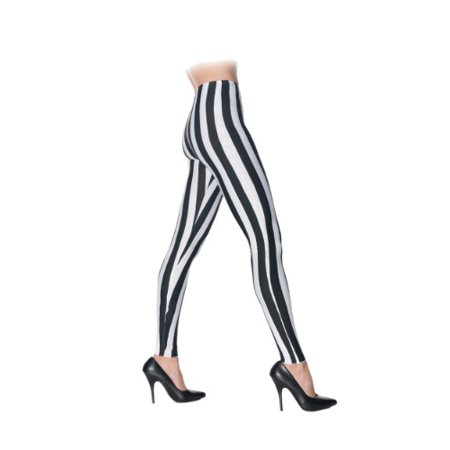 Black/White Striped Leggings Roller Derby Punk Rock Women Costume Accessory S/M - Halloween Parties Derby 2017
