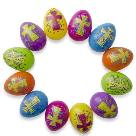 - Set of 12 Bright Crosses Plastic Easter Eggs 2.25 Inches