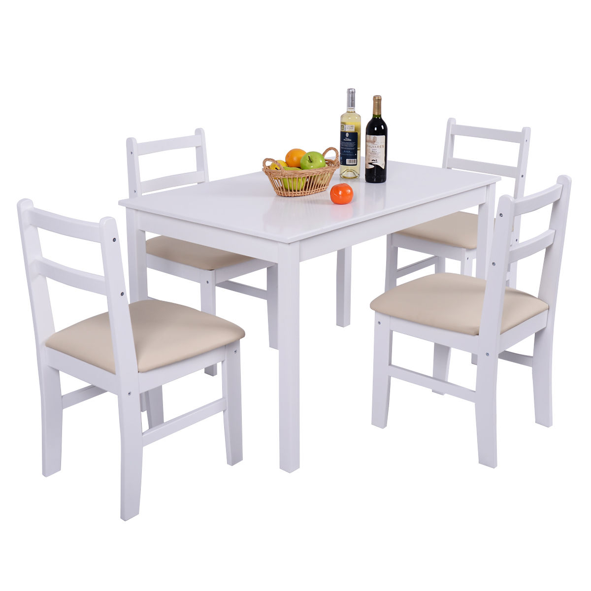 Costway 5 Pcs Pine Wood Dining Table Set 4 Upholstered Chair Breakfast Kitchen Furniture by Costway