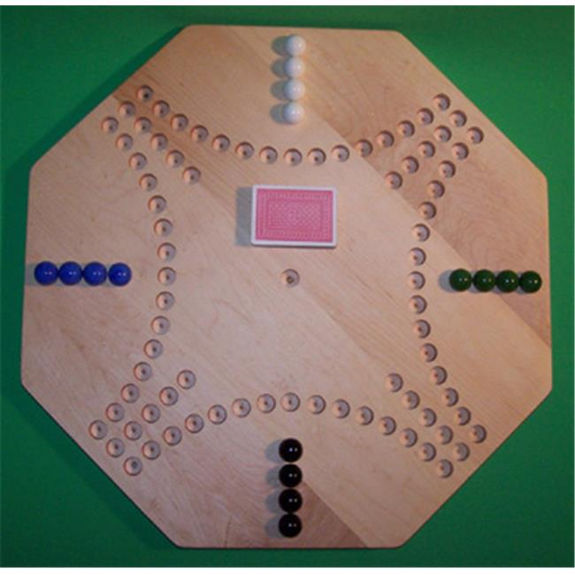 THE PUZZLE-MAN TOYS W-1950 Wooden Marble Game Board - Aggravation - New Style 22 in. Octagon - 4-Player  16-Hole - Hard Maple