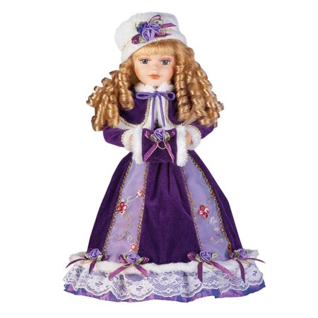 (Women's Alexandra Antique Replica Victorian Winter Porcelain Doll w/ Gift Box - 16