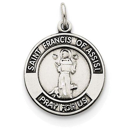 Assisi Necklace (Finejewelers Sterling Silver Antiqued Saint Francis Of Assisi Medal Pendant Necklace Chain Included)