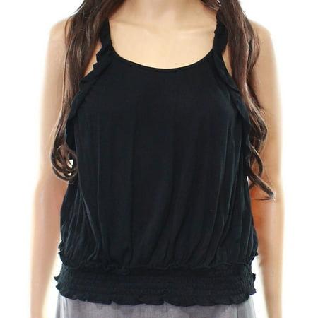 Wild Pearl Women's Halter Shirred-Hem Knit Ruffle Top