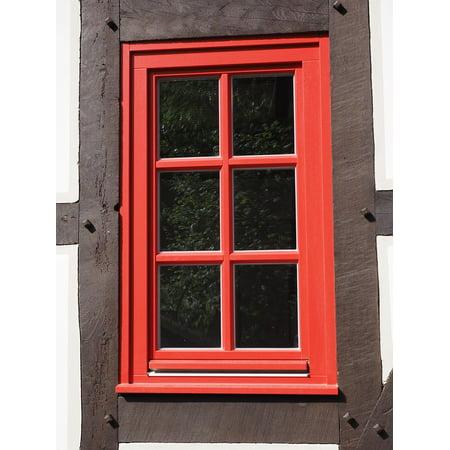 Canvas Print Window Window Frames Lattice Window Glass Red Stretched Canvas 10 x