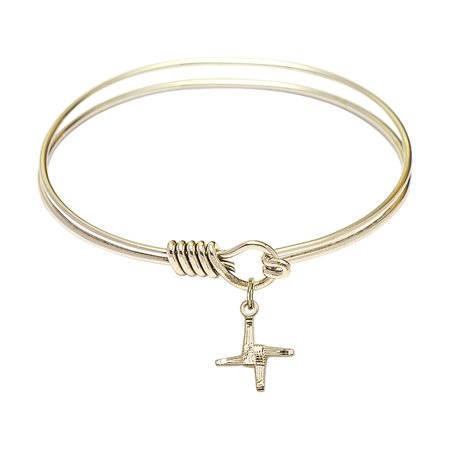 6 1 4 Inch Round Eye Hook Bangle Bracelet W  St  Brigid Cross Charm Gold Filled Medal