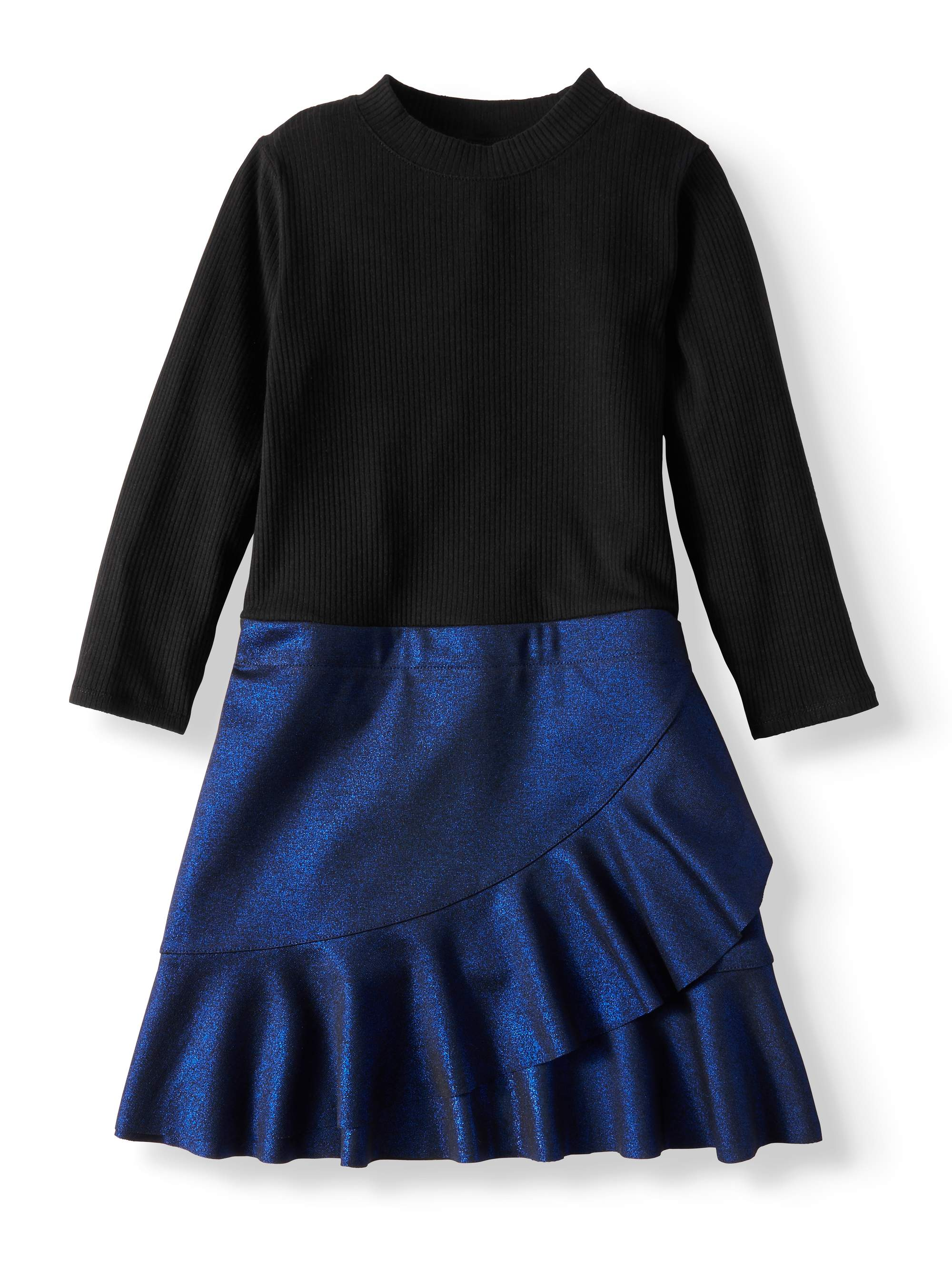 Wonder Nation Girls' Knit and Metallic Scuba Combo Dress