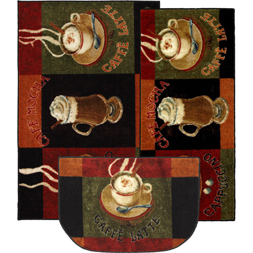 mohawk caffe latte 3-piece printed kitchen rug set - walmart
