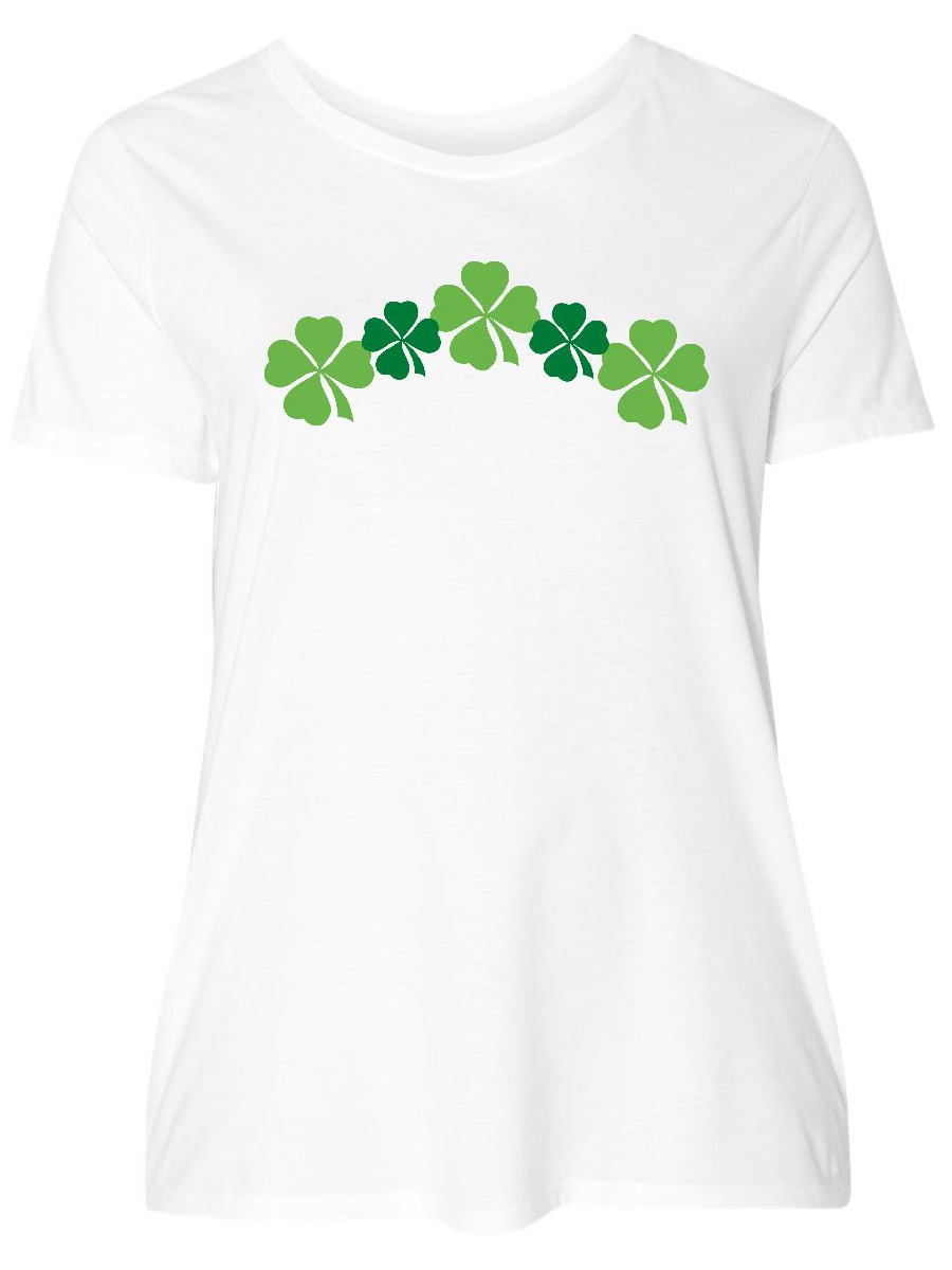 5935471bb INKtastic - Shamrock Four Leaf Clover St Patricks Women's Plus Size T-Shirt  - Walmart.com