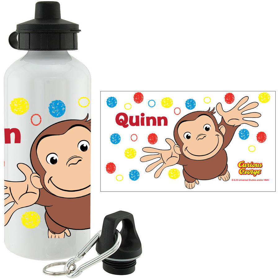 Personalized Curious George Polka Dots Sports Bottle