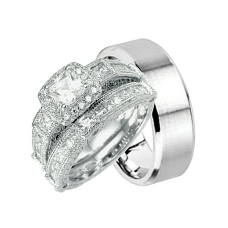 Laraso Co His And Hers Wedding Ring Set Matching Wedding Bands