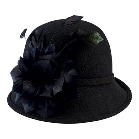 Women's San Diego Hat Company Wool Felt Cloche with Feather Trim DRS3550 (Felt Hat With Feather)