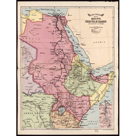 Bacons excelsior map of Egypt the Nile basin and adjoining countries Poster Print