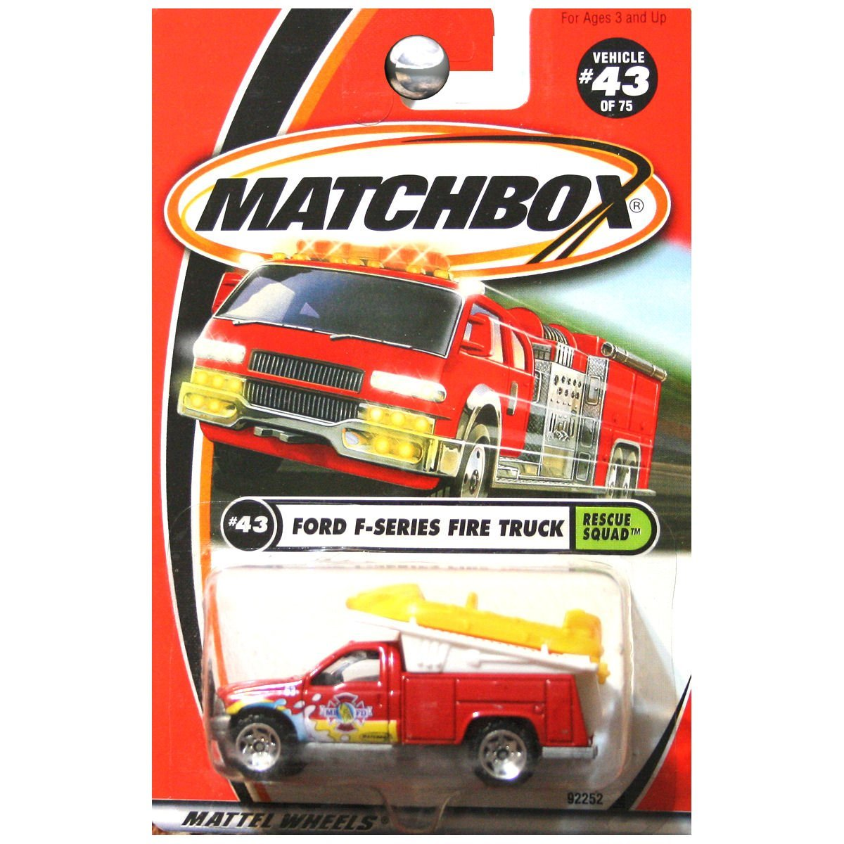 2001 Rescue Squad Ford F-Series Fire Truck Medic with Raft in Red #43 By Matchbox by