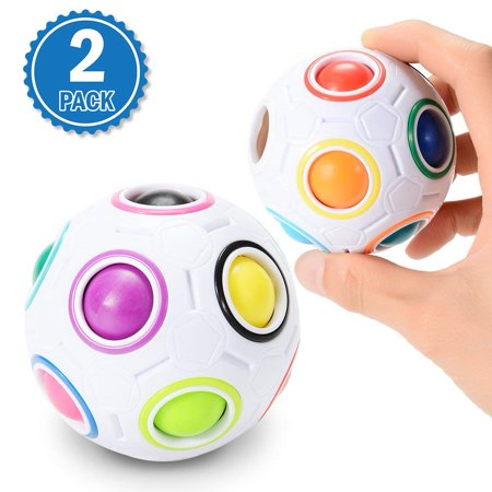 Magic Football (Anerteer 2 Pack Magic Rainbow Ball Challenging Puzzle Cube Fidget Toy 3D Intelligence Spherical Football Style Stress Relieve Ball for)