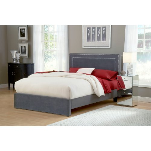 Amber Upholstered Low Profile Bed - Pewter