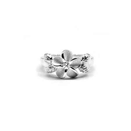 925 Sterling Silver Hawaiian Hibiscus Plumeria Ring CZ Single Shiny Leaves Band