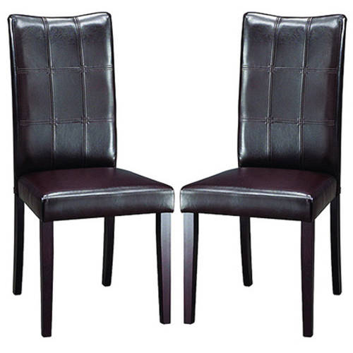 Baxton Studio Eugene Wood and Faux Leather Dining Chair, Set of 2, Dark Brown