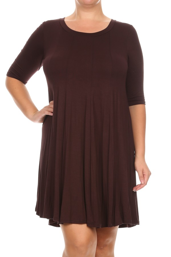 Plus Size Women's 3/4 Sleeves solid dress