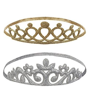 Baby Ganz Princess Tiara Crown Headband 2 Pc. Set - Gold Open Loop, Silver Ornate