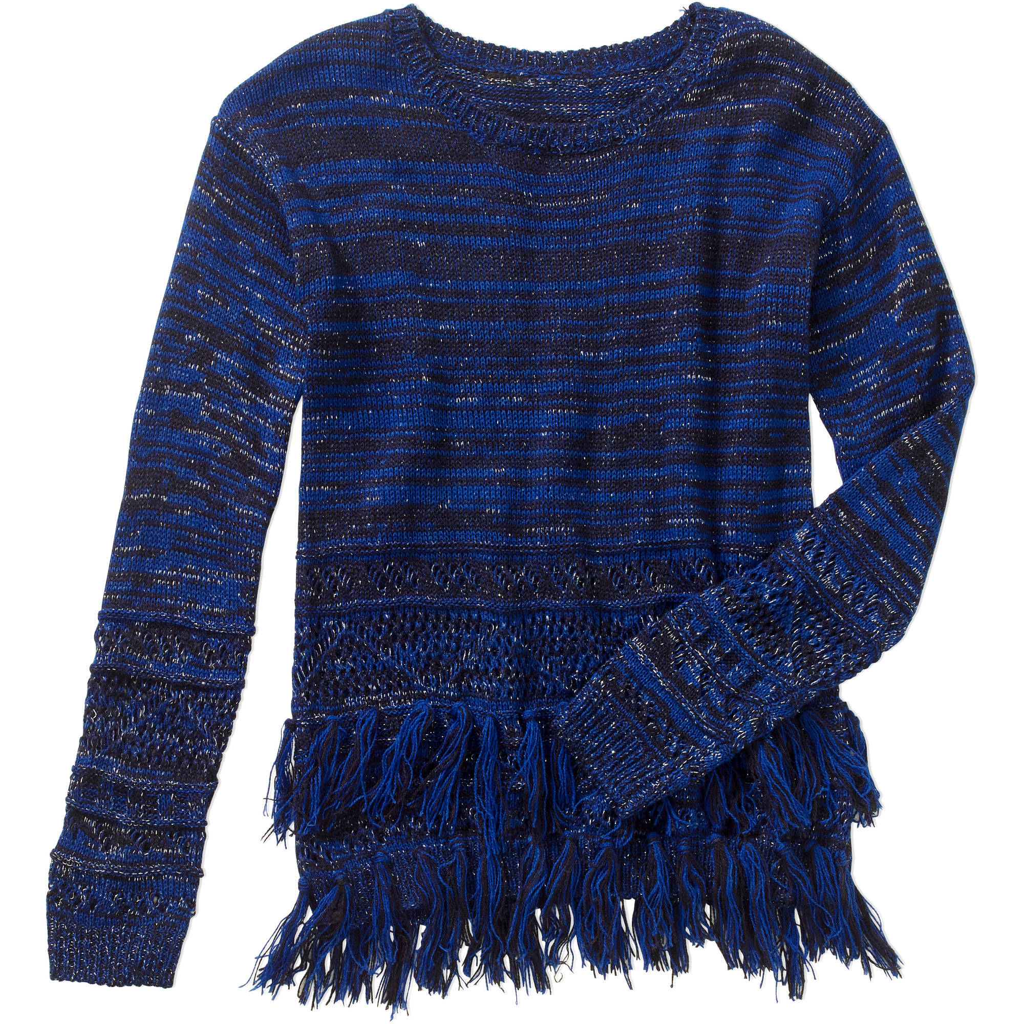 Derek Heart Girls Marled Tunic with Lurex and Fringe