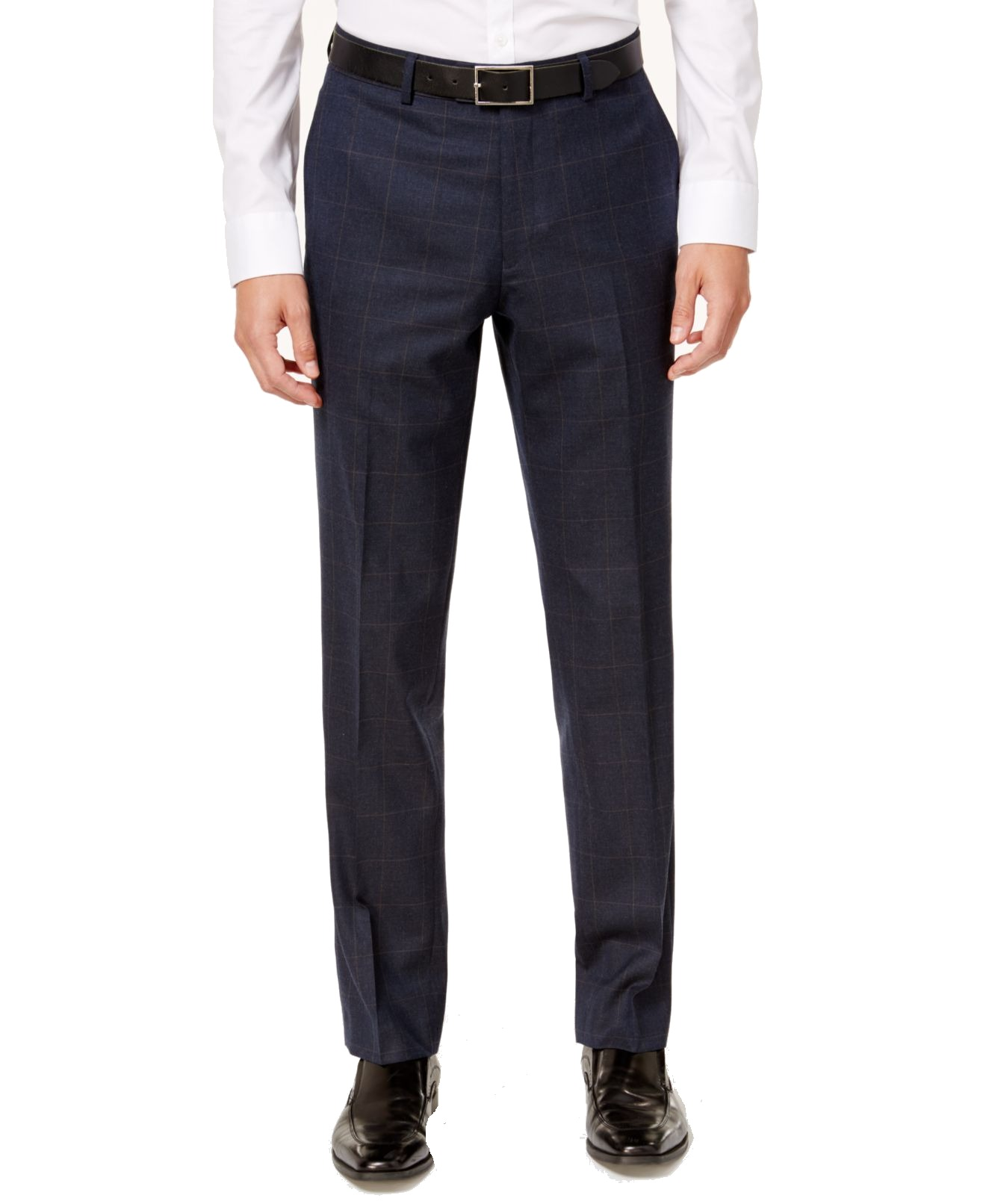 Blue Mens 32X32 Slim Plaid Dress - Flat Front Wool Pants $175 32