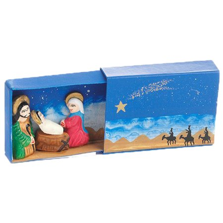 The Crabby Nook Tiny Hand Crafted Matchbox Nativity Figurine Set  (Blue Matchbox Nativity)