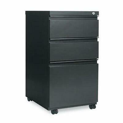 Alera Three-Drawer Metal Pedestal File w/Full-Length Pull, Charcoal Full Pull Utility Drawer