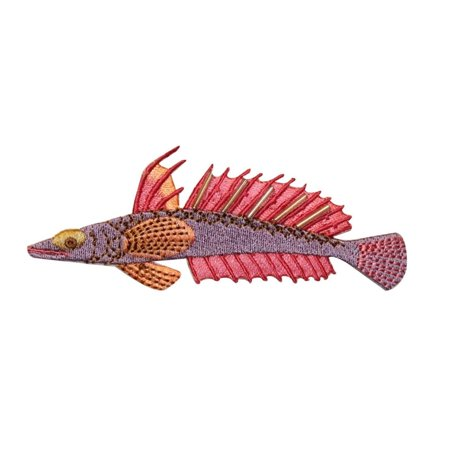 ID 0215 Tropical Spine Fish Patch Spike Ocean Fishing Iron On Applique