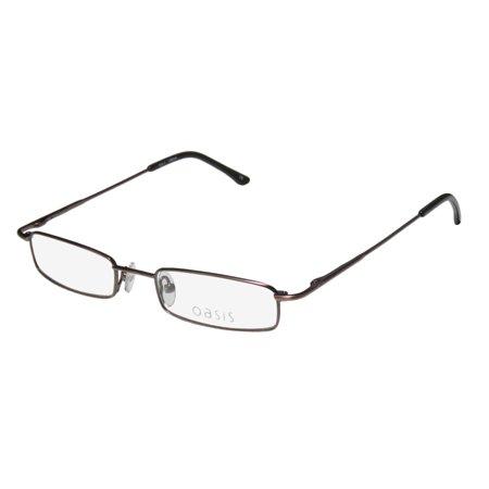 New Oasis Iris Womens/Ladies Rectangular Full-Rim Brown Classic Design Must Have Hard Case Frame Demo Lenses 48-18-135 Spring Hinges Eyeglasses/Eye Glasses