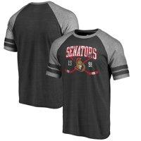 Ottawa Senators Fanatics Branded Vintage Collection Line Shift Tri-Blend Raglan T-Shirt - Black