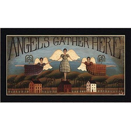 buyartforless IF SAGE DH035 20x10 1.25 Cblack Framed Angels Gather Here by David Harden 20X10 Folk Art Print Primitive Country Black Frame