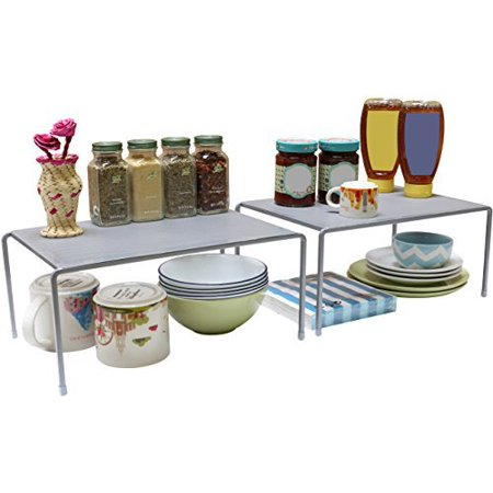 Decobros Expandable Stackable Kitchen Cabinet And Counter Shelf Organizer Silver