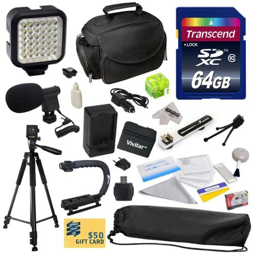 Advanced Kit for Canon VIXIA HFR52 HFR50 HFR500 HFR32 HFR30 HFR300 HFR42 HFR40 HFR400 HFR36 HFR306 HFR38 HFM50 HFM52 HFM56 HFM500 HFM506 Camcorder with 64GB SDHC Card + Case + Tripod + $50 Gift Card