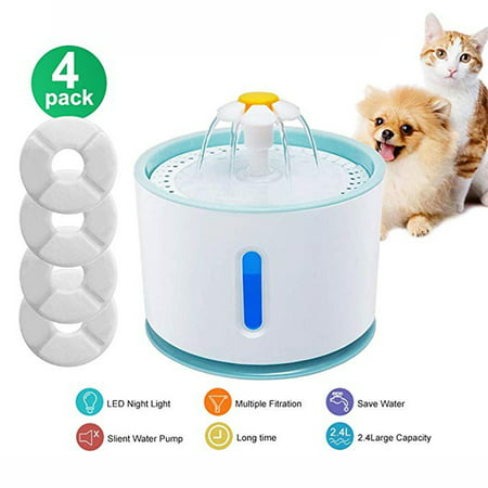 Automatic Electric 2.4L Pet Water Fountain Flower Dog Cat Drinking Bowl Pet Water Fountain Dogs Cats Drinking Bowl Water Dispenser with Filter Healthy and (Old Cat Drinking A Lot Of Water)