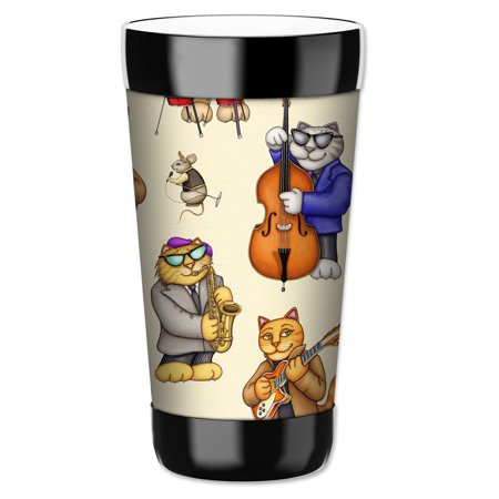 Mugzie 16-Ounce Tumbler Drink Cup with Removable Insulated Wetsuit Cover - Musical Cats - Cat Face Halloween Tumblr