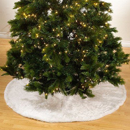 Noël Blanc Faux Fur Design White Holiday Christmas Tree Skirt, One ...