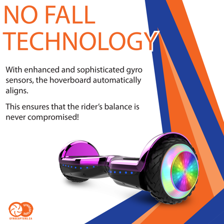 Gyrocopters PRO 6.0 Off-Road Hoverboard - UL 2272 Certified with Bluetooth, LED wheels, APP, No Fall Technology, Front and Back lights (Purple) - image 9 of 10