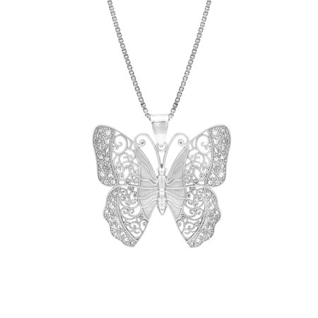 """Sterling Silver Combination Filigree & Diamond Cut Butterfly Necklace Pendant with 18"""" Box Chain"""