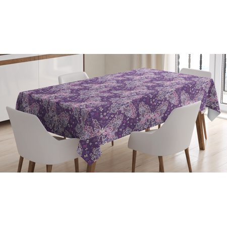 Butterfly Tablecloth, Abstract Nature Image Lines and Swirls Floral Arrangement Valentines Day, Rectangular Table Cover for Dining Room Kitchen, 52 X 70 Inches, Violet Lilac White, by Ambesonne ()