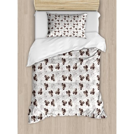 Dog Duvet Cover Set, Pug Portraits Traces Paw Print Background Canine Pet Illustration Mammal Animal, Decorative Bedding Set with Pillow Shams, Beige Brown Tan, by Ambesonne