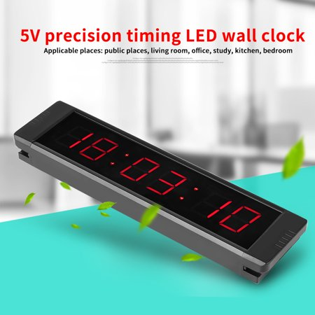 Yosoo Programmable LED Remote Wall Clock Prscise Timer Stopwatch for Fitness Training, led clock, led wall clock