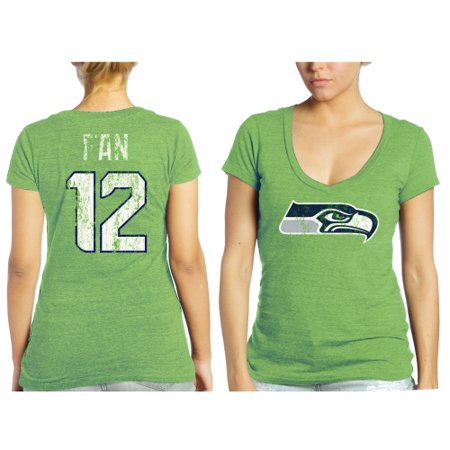 1a57c645 12s Seattle Seahawks Tri-Blend Name & Number T-Shirt - Neon Green