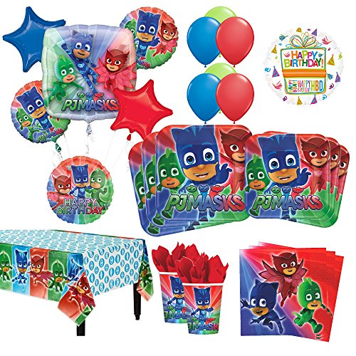 PJ Masks Birthday Party Supplies 8 Guest Kit and Balloon Bouquet Decorations 54 pc