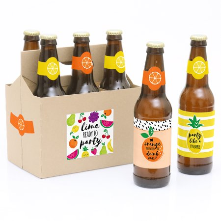 Tutti Fruity - Beer Bottle Labels Frutti Summer Party Decorations for Women and Men - 6 Beer Bottle Label Stickers and 1 Our Tutti Fruity - 6 Beer Bottle Labels Frutti Summer Baby Shower & Birthday Party with 1 Beer Carrier are the perfect gift for the guest honor. This set comes with a craft paper carrier and 6 beer bottle labels that are printed on sticker paper that is waterproof. Apply labels to room temperature bottles. Apply beer bottle labels either after removing original label for best results or put over existing labels if you choose. Chill after you are done applying labels. For the two larger labels that are left over apply to the front and back of paper carrier. Use the two smaller ones to put on each end of the paper carrier to give you the completed look. (Beer in image is obviously NOT included).Kit includes 6 labels to decorate bottles and includes 4 labels for decorating the kraft paper carrier. Labels are printed on sticker paper that is waterproof. The main sticker label is 3.5  x 3  and the collar/neck sticker label is 3.5  long x 1.5  wide at the center.Apply labels to room temperature bottles. Apply beer bottle labels either after removing original label for best results or put over existing labels if you choose. Chill after you are done applying labels. (Beer in image is NOT included).