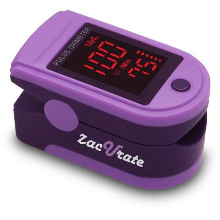 Zacurate Pro Series 500Dl Fingertip Pulse Oximeter Blood Oxygen Saturation Monitor With Silicon Cover  Batteries And Lanyard  Royal Purple