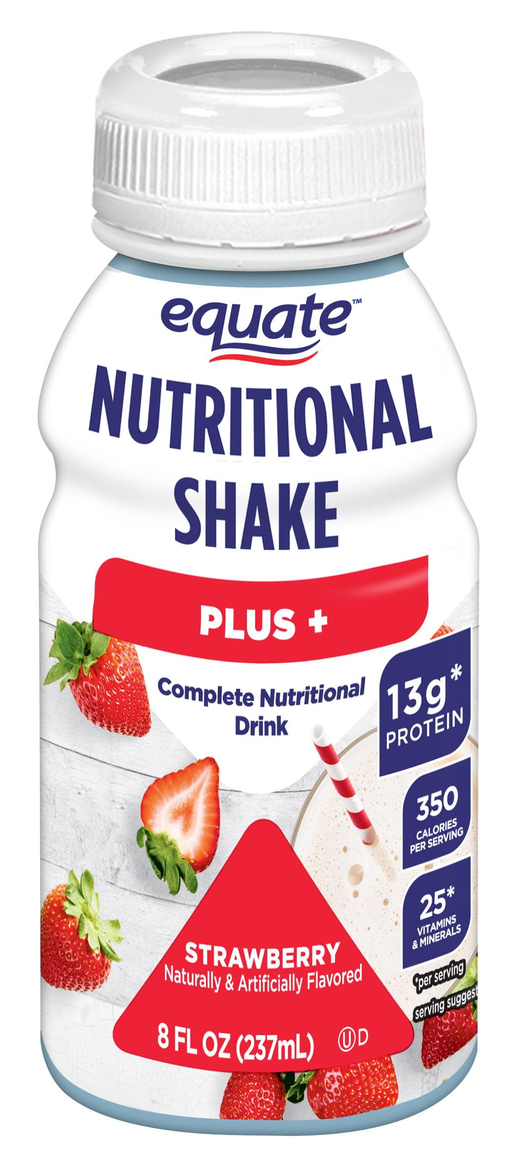 Equate Plus Nutritional Shakes Strawberry 8 Fl Oz 6 Ct Walmart Com Walmart Com